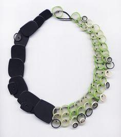"Erica Rosenfeld - ""Half Black/Green Rings Necklace,"" fused glass"