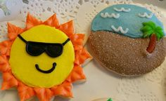 Summer and Beach Themed Sugar Cookies