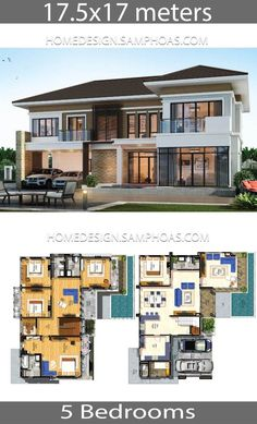 Architecture House Floor Plans House Plans idea with 5 bedrooms - Home Ideassearch 5 Bedroom House Plans, House Plans Mansion, Modern House Floor Plans, Home Design Floor Plans, 2 Storey House Design, Modern House Design, One Storey House, House Layout Plans, House Layouts