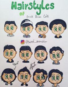Hairstyles Erick 😄✂ Brian Colon, Shy Girls, Lol, Fan Art, Comics, Hair Styles, Sweet, Memes, Drawings
