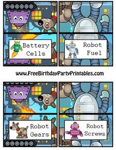 Free Robot Birthday Party Printables- Food Tent Cards
