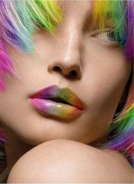 Pastel rainbow lip & hair color (¯`' Rainbow Lips, Rainbow Makeup, Rainbow Hair, Rainbow Colors, Rainbow River, Makeup Art, Lip Makeup, Rides Front, Taste The Rainbow