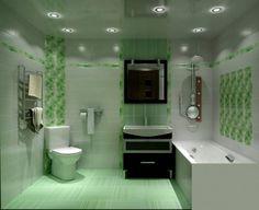 Зеленая ванная комната с натяжными потолками