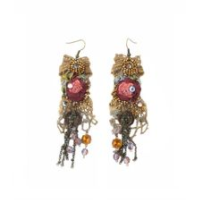 Vintage Roses II, embroidered earrings by Krista R