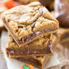 Pumpkin Nutella Cookie Bars - gooey Nutella inside the best pumpkin cookie bars ever!