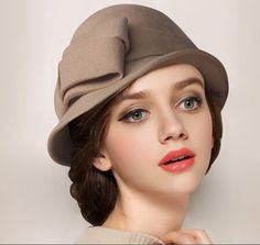 Elegant bow bowler hat for winter retro style ladies wool hats