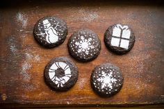 Dark Chocolate Gingersnap Cookies with Holiday Stencils