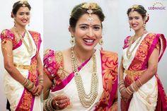 Bride in Cream and Pink Silk Sari