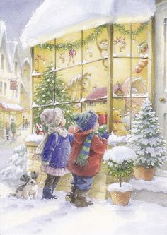 Christmas shop window - I love art like this. I hope I can have a bunch of them when I have my own place for Christmas someday!