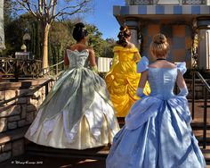 Gorgeous photo of Tiana, Belle, and Cinderella by #DisneyGrandpa