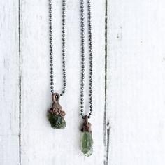 Moldavite crystal necklace  Raw moldavite jewelry  by HAWKHOUSE