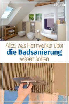 """Badsanierung However, if you plan the project """"Badumbau"""" in detail, you can keep the deplorable rebuilding phase as short as possible, if it reads our guide before the bath renovation. Potted Plants Patio, House Plants Decor, Small Media Rooms, Basement Living Rooms, Media Room Design, Complete Bathrooms, House Plant Care, Bathroom Renovations, Basement Renovations"""