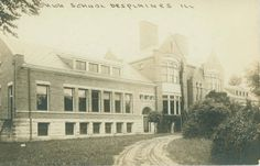 Postcard of the Maine Township High School, circa 1920.  See more at Des Plaines Memory!
