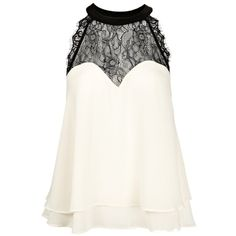 Lipsy Lace Trim Swing Top (310 ZAR) ❤ liked on Polyvore featuring tops, shirts, blusas, tank tops, cream, white shirt, white top, cream shirt, party shirts and open back tops