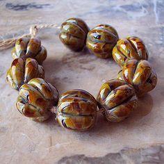 Organic Lampwork Glass Beads  (2 pcs) - Yellow Brown Grey Pumpkin 15 mm x 15-16 mm Hand Formed
