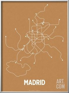 Madrid (Orange & Pearl White) Framed Art Print by Line Posters. Save up to 40% for a limited time at Art.com.