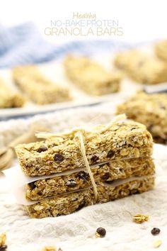 Healthy No-Bake Chocolate Chip Protein Granola Bars