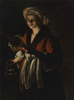 Adam de Coster (1585 6-1643) A Young Woman Holding a Distaff before a Lit Candle