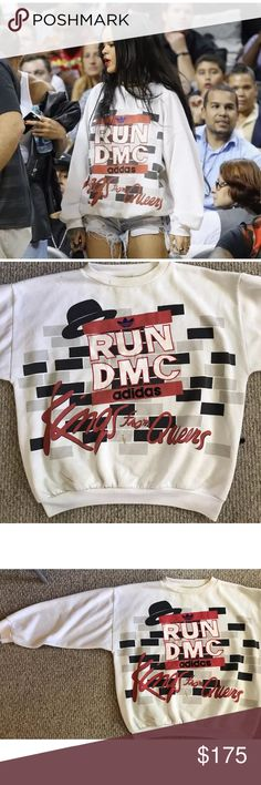 "Vintage RUN-DMC Adidas ""Kings from Queens"" Swtshrt Vintage Adidas Run DMC sweatshirt. Hard to find! No size listed, appears to be a L or XL. This sweatshirt is dirty in some areas, please see photo documentation. adidas Tops Sweatshirts & Hoodies"