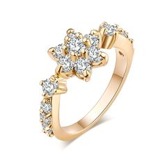 YAZILIND Jewelry Fashion Brilliant Flower Shape Cubic Zirconia Gold Plated Ring for Women -- Thank you for viewing our image. (This is our affiliate link) Engagement Jewelry, Wedding Engagement, Wedding Rings, Gold Plated Rings, Silver Rings, Mid Finger Rings, Jewelry Rings, Jewelry Watches, Fashion Jewelry