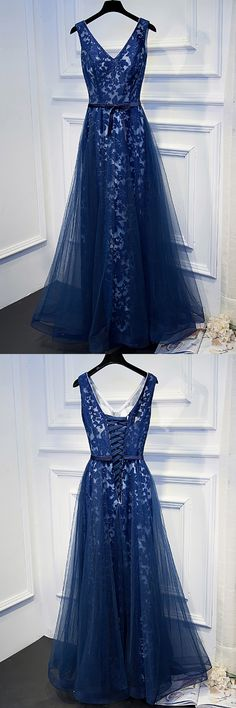 Only $118, Prom Dresses Unique Navy Blue Long Lace Prom Dress V-neck With Sash #MYX18123 at #GemGrace. View more special Prom Dresses now? GemGrace is a solution for those who want to buy delicate gowns with affordable prices, a solution for those who have unique ideas about their gowns. 2018 new arrived, shop now to get $10 off!