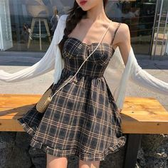 Buy Conah Light Cardigan / Spaghetti Strap Plaid A-Line Mini Dress at YesStyle.c… - Fashion Ideas Girly Outfits, Pretty Outfits, Pretty Dresses, Cute Fashion, Asian Fashion, Girl Fashion, 70s Fashion, Fashion Tips, Casual Dresses