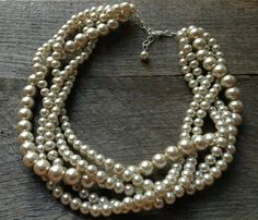 Champagne Pearl Necklace Five Strand Braided Cluster on Silver or Gold Chain - Wedding, Bridal, Prom, Birthday Gift on Etsy, $36.00