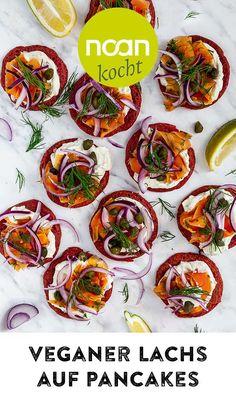 Lecker, gesund und gut für die Umwelt! Diese veganen Pancakes mit Karotten-Lachs und geräucherten Alaria Algen können all das und erfüllen zudem jedes Craving nach allseits beliebten Brunch-Klassikern, ganz vegan und Planeten-freundlich! Freundlich, Low Carb, Brunch Recipes, Vegane Rezepte, Seaweed, Beetroot, Planets, Carrots, Salmon