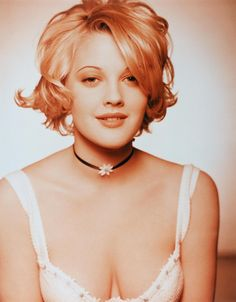 Drew Barrymore, 1993.  Hair. - this is like mine, wavy, curly, slight mess