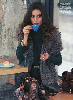 Fur vest, hunter green turtleneck, espresso Olivia Palermo
