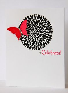 handmade birthday card ... clean and simple design ... white and black with two pops of red ...  large flower in black with a bright red butterfly ... luv it!