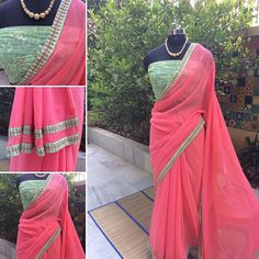MOONGA PANNA Coral chiffon Saree with Mint Green emroidered border.  Double border on the pallu Blouse: Mint Green net with dull gold sequence & embroidery  Price: INR 4800 + shipping  For purchases, email naayaab.online@gmail.com Shipping charges additional as applicable #sarees,#saris, #indiandesigners ,#handmade, #instalove, #desibride, #bollywoodfashion, #style,#indianbeauty, #classy, #instafashion, #indiancouture, #statementpieces, #designersarees, #designersaris…