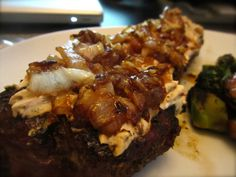 Caramelized Onion and Cream Cheese Topped Steak