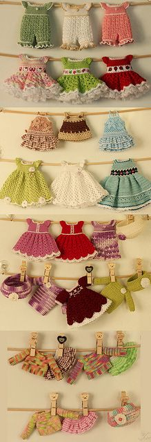 mini crochet dresses No patterns and not for sale, but they are very cute.  The lady says she is hoping to open an Etsy site, so not sure.  Still, very cute!  Gayle