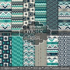 """Tribal digital paper: """"WINTER TRIBAL"""" with tribal patterns and tribal backgrounds, arrows, feathers, leaves, chevrons in turquoise and beige"""