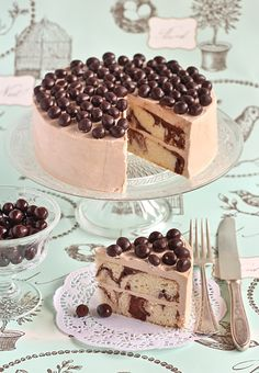 This mocha marble cake with chocolate-covered coffee beans is beautiful!