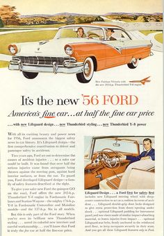 1956 Ford Fairlane Victoria Car 202 HP Engine Vintage Print Ad in Collectibles, Advertising, Automobiles Old Advertisements, Car Advertising, Ford Motor Company, Ford America, Ford Classic Cars, Classic Auto, Ford Fairlane, Us Cars, Car Ford