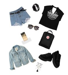"""Black®⚫️🖤"" by baloglora ❤ liked on Polyvore featuring Hollister Co., Fjällräven, Illesteva, Missguided and Apple"