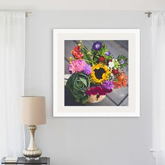 bouquet photograph rustic flowers colorful print rustic still life sunflower cabbage freshly picked flower bouquet square print wall art