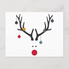 Modern funny abstract Christmas reindeer on white Holiday Postcard - Rentier basteln Watercolor Christmas Cards, Christmas Card Crafts, Homemade Christmas Cards, Christmas Drawing, Christmas Art, Christmas Decorations, Christmas Ornaments, Homemade Cards, Christmas Card Designs
