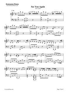 Wiz Khalifa ft Charlie Puth - See You Again piano sheet music