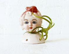 """From ESW's Creepy Cute Collection is """"Little Miss Curly Sue"""" that was made for all the unique collectors out there... and she's got a LIVE """"Myosura"""" Air Plant friend thats fabulously decorated just for this fancy lady!"""
