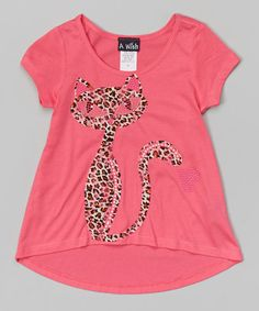 Another great find on #zulily! Hot Pink Cat Hi-Low Tee - Toddler & Girls by A Wish #zulilyfinds