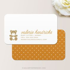 Nanny or Babysitter Business Card / Calling Card / Mommy Card ©MalloryHopeDesign.Etsy.com