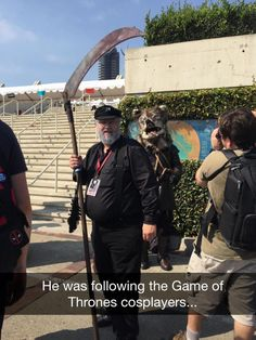 Following Game of Thrones cosplayers.
