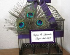 X-Large Peacock Feathers with Rhinestone Accent Large Birdcage- Wedding Card Holder