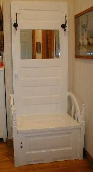 Upcycled doors into chairs!  What a neat idea!