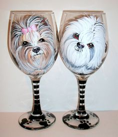Custom Pet Portrait of Your Dog Breed or Cat, Horse Any Pet Hand Painted Wine Glasses Set of 2 - 20 oz. Wine Glasses Dog Lover Birthday Gift by SharonsCustomArtwork on Etsy