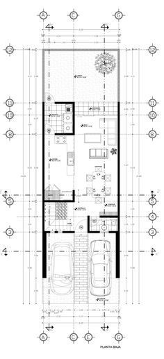 The perfect floor plan for me. Narrow House Plans, Modern House Plans, House Floor Plans, House Layout Plans, House Layouts, Minimalist House Design, Modern House Design, Row House Design, Small Villa