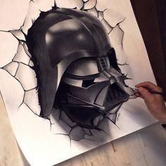 Darth vader star wars drawing painting 3d pabst